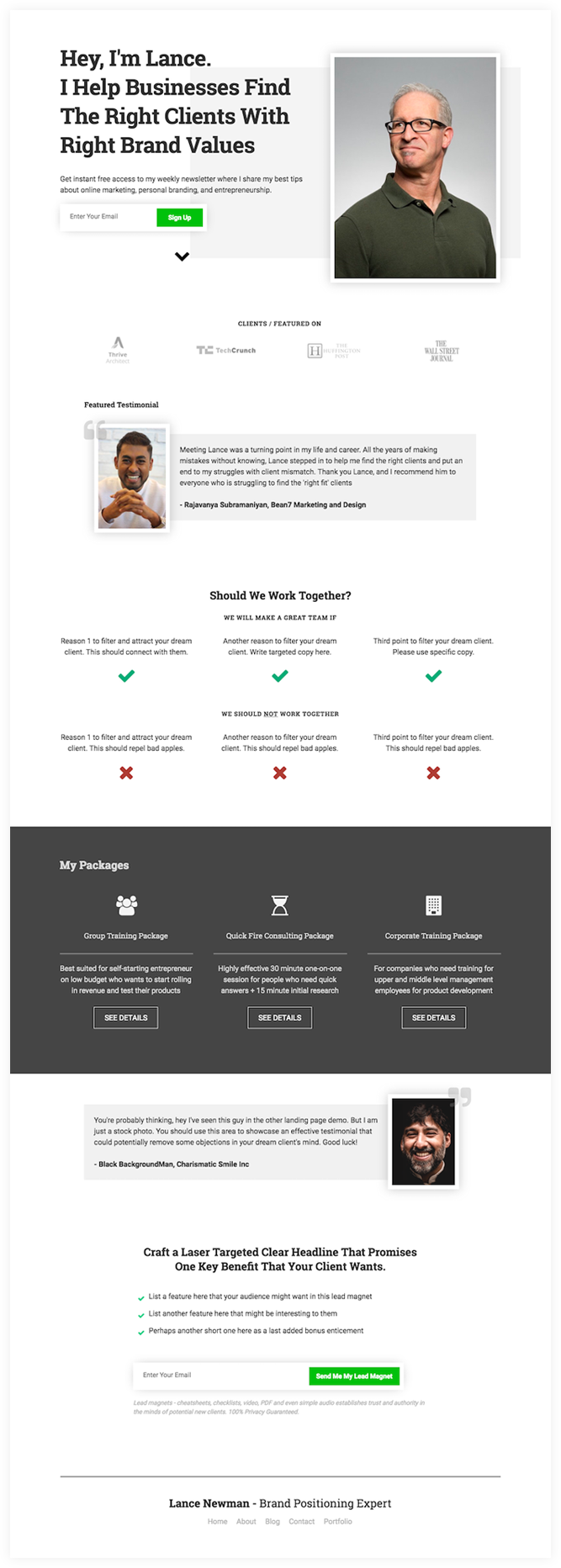 coach consultant homepage - free thrive architect homepage template